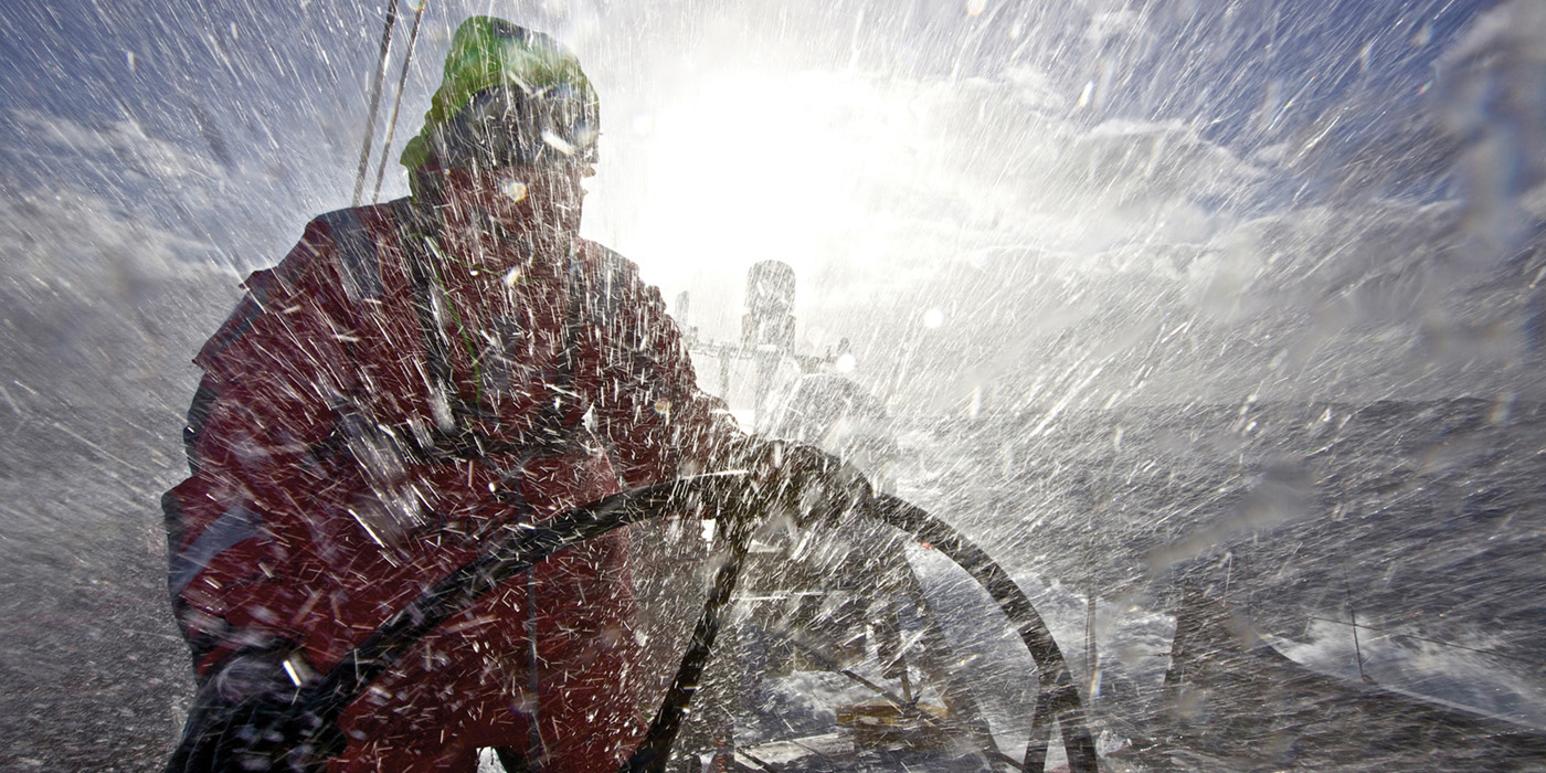 Helming onboard PUMA Ocean Racing powered by BERG in heavy Southern Ocean weather, during leg 5 of the Volvo Ocean Race 2011-12, from Auckland, New Zealand to Itajai, Brazil. (Credit: Amory Ross/PUMA Ocean Racing/Volvo Ocean Race)
